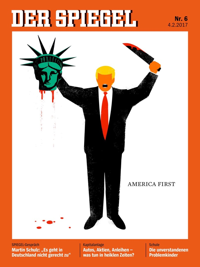 Spiegel magazine cover showing Trump with bloody knife in one hand and severed head of Lady Liberty in the other.